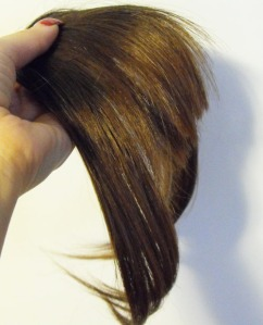clip-in bangs hairpiece -side view