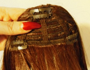 clip-in bangs hairpiece back.