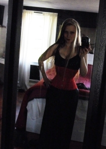red corset, hourglass