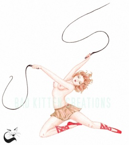 Another pinup inspired by Art Deco dancing girl statues. I chose to go with a burlesque circus feel for this firey girl.