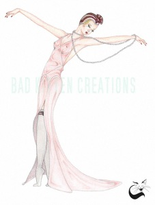 art deco fashion pinup art