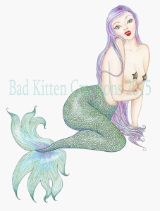 Vintage pinup style mermaid wit green tail and purple hair